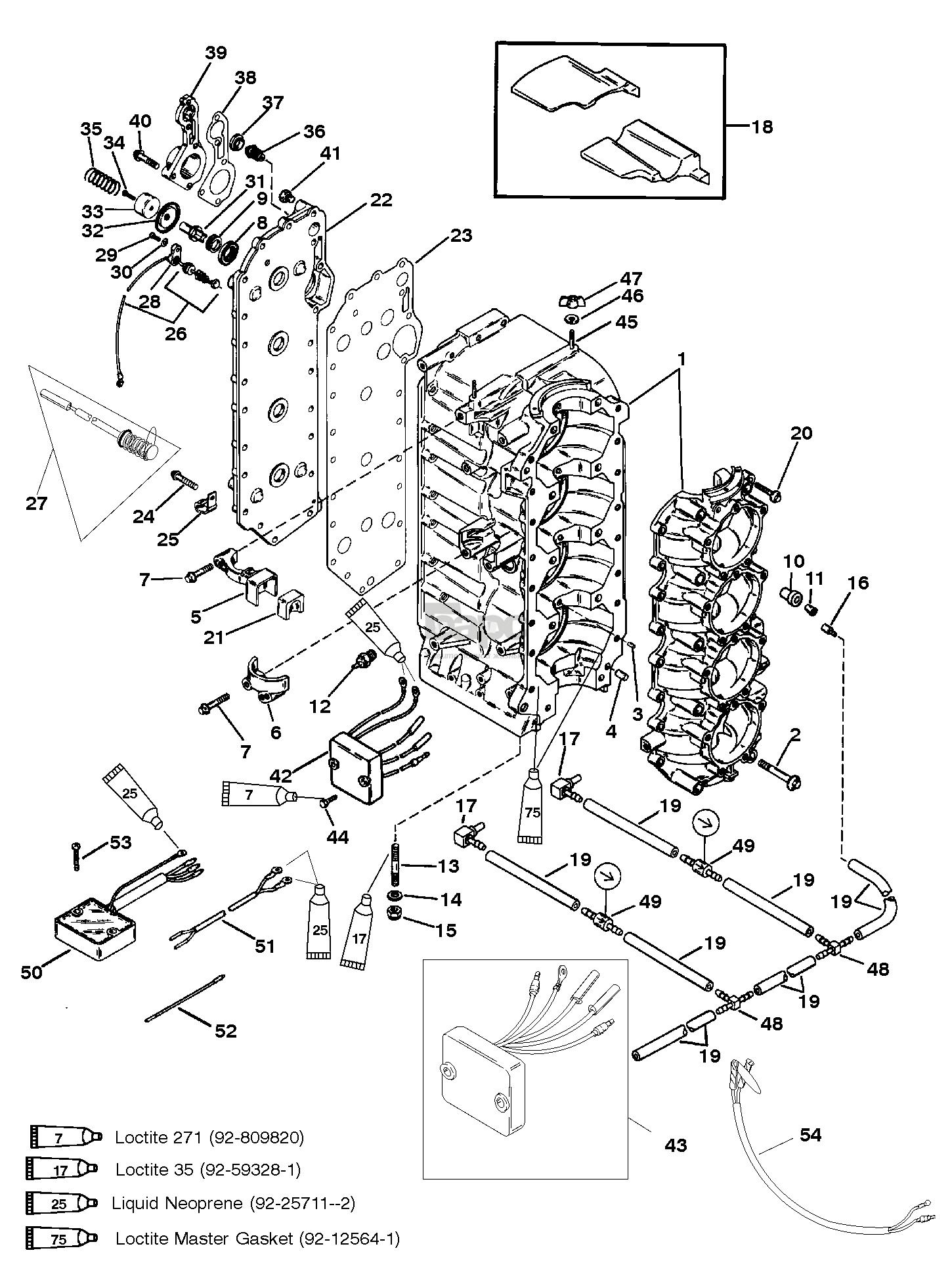 Запасные части Mercury 125 (4 CYL ) (0D283222 THRU 0G760299